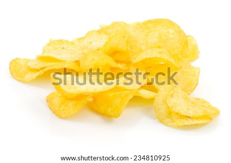 Macro view of potato chips isolated on white background - stock photo