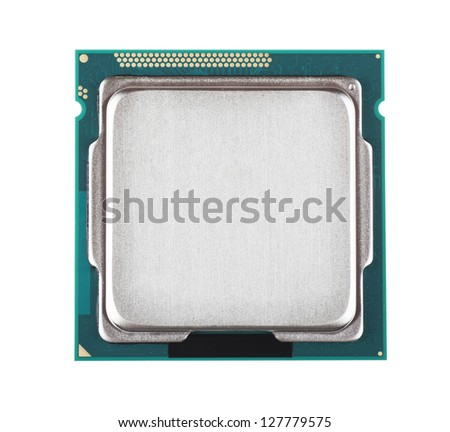 Macro view of processor microchip isolated over white background - stock photo