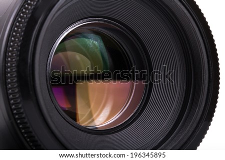 Macro view of professional photograph camera lens, isolated on white background.