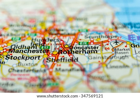 Macro view of Rotherham, United Kingdom on map. - stock photo