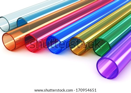 Macro view of set of color transparent acrylic plastic tubes isolated on white background with selective focus effect - stock photo