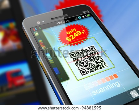 Macro view of smartphone scanning QR code for shopping - stock photo
