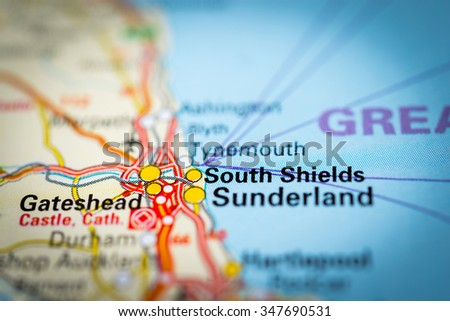 Macro view of South Shields, United Kingdom on map. (vignette) - stock photo