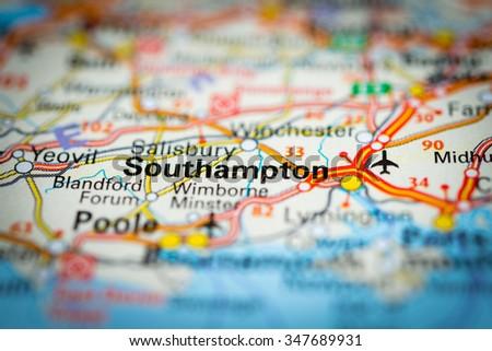 Macro view of Southampton, United Kingdom on map. (vignette) - stock photo