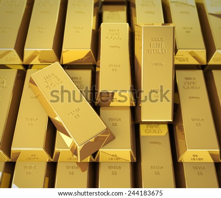 Macro view of stacks of gold bars. - stock photo