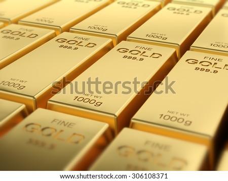 Macro view of stacks of gold bars - stock photo