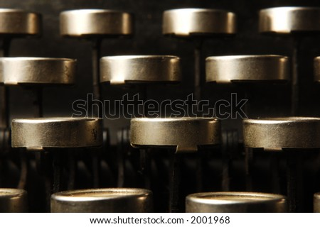 macro view of typewriters keys - stock photo
