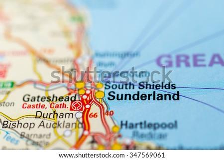 Macro view of , United Kingdom on map. - stock photo