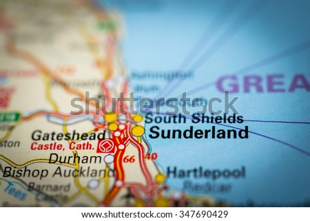 Macro view of , United Kingdom on map. (vignette) - stock photo