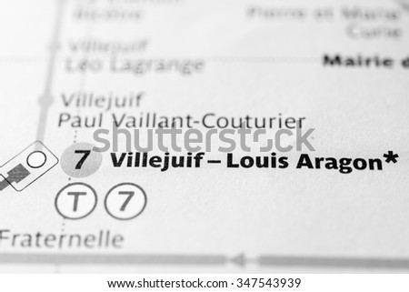 Macro view of Villejuif-Louis Aragon station on Paris subway map