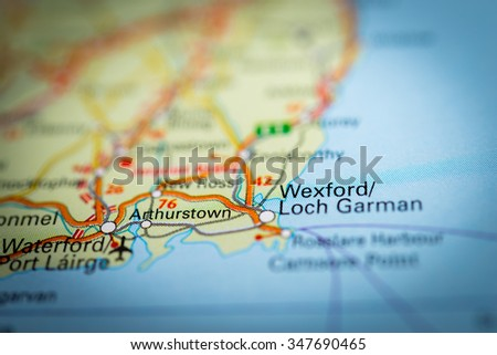Macro view of Wexford, United Kingdom on map. (vignette) - stock photo