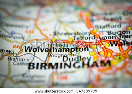 Macro view of Wolverhampton, United Kingdom on map. (vignette) - stock photo