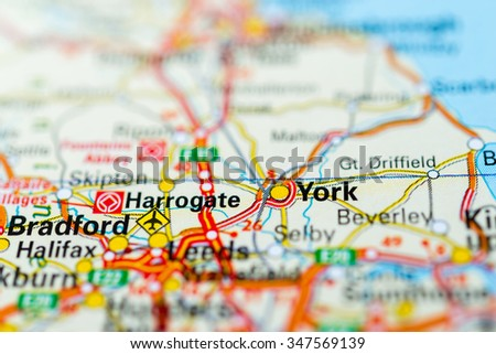 Macro view of York, United Kingdom on map. - stock photo