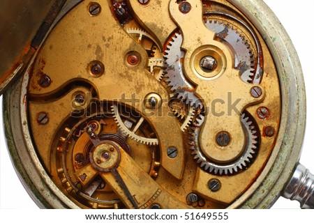 macro view on old pocket watch rusty gear - stock photo