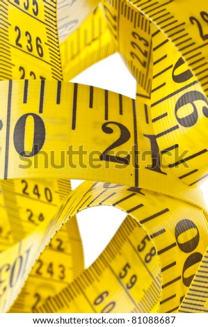 Macro Yellow and Black Measuring Tape Background.