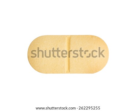 Macro yellow medical pill tablet isolated on white - stock photo