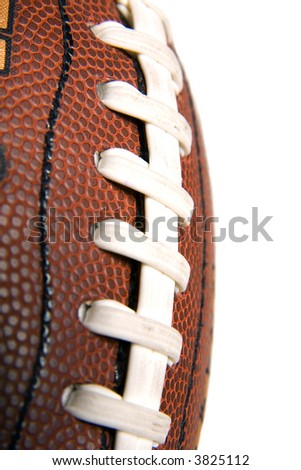 macron vertical view of stitches on a football - stock photo