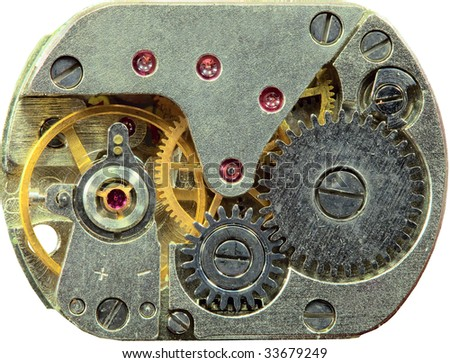Macrophoto of a tiny old clockwork background