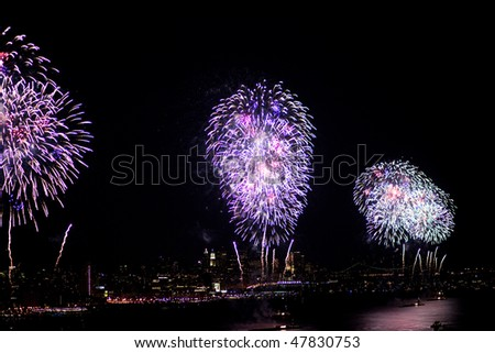 Macy's 4th of July fireworks view from New Jersey to Manhattan (2009) - stock photo