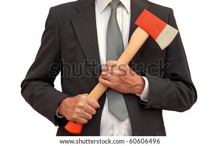 Mad ax businessman - stock photo
