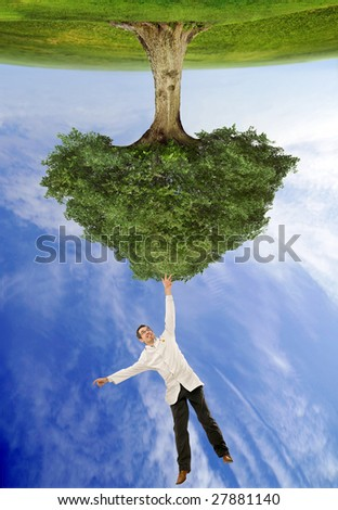 Mad biologist catching a tree - stock photo