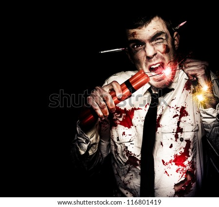 Mad Business Man Covered In Blood Holding Explosive Bomb In A Comical Depiction Of A Business Crisis - stock photo