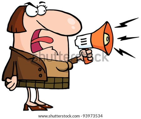 Mad Business Woman Yelling Through A Megaphone .Vector version is also available - stock photo