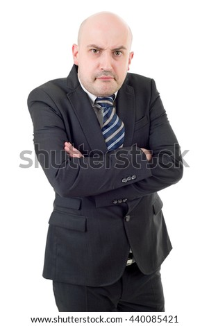 mad businessman portrait isolated on white - stock photo