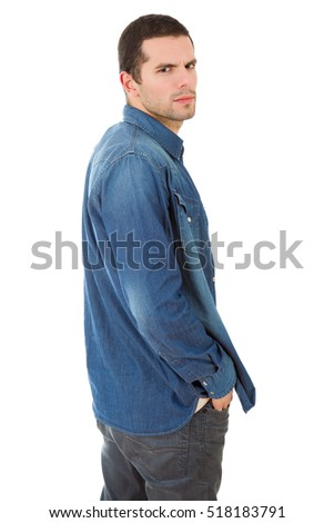 mad casual man, isolated on white background