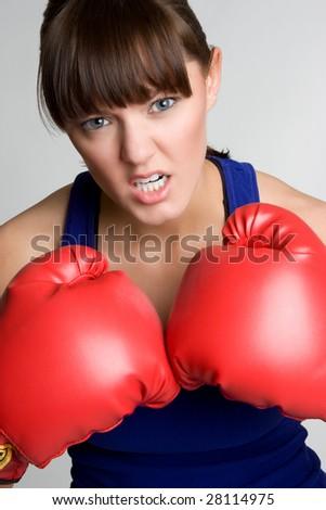 Mad Female Boxer - stock photo
