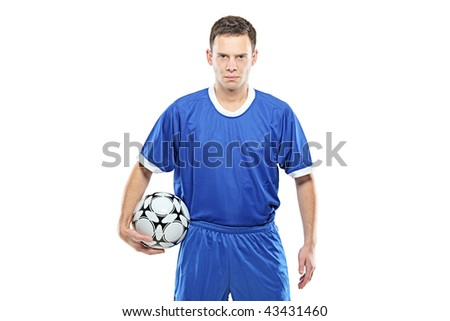 Mad footballer holding a football isolated on white background - stock photo