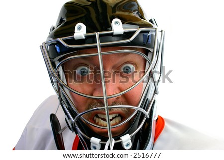 Mad Hockey Goalie - stock photo