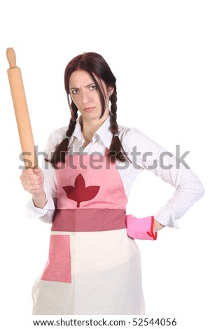 mad housewife with a rolling pin on white background - stock photo