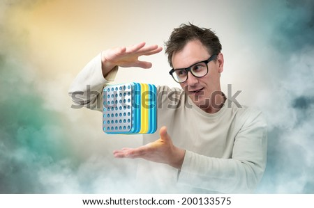 Mad Professor and device - stock photo