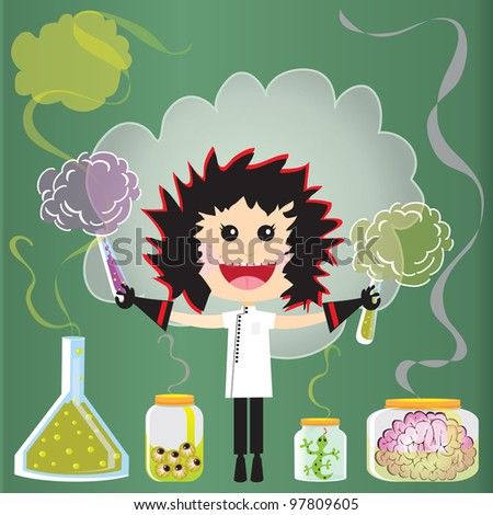 Mad Scientist Birthday Party Invitations. Puffs of smoke and fumes leak from test tubes, beakers and jars of eyeballs, lizards and a pink brains against a green chalkboard. - stock photo