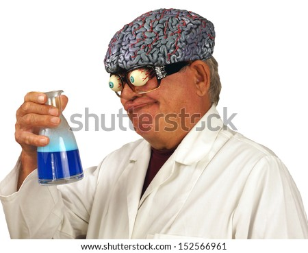 Mad scientist brews up a concoction at home, isolated on white