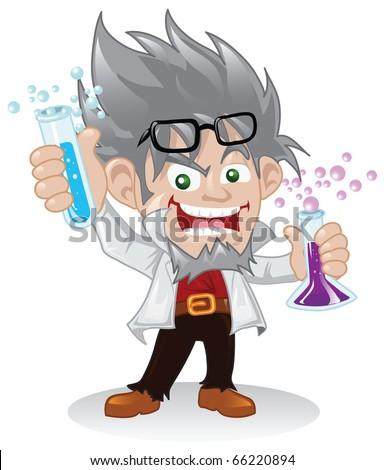 Mad scientist cartoon character holding some flasks of chemical fluids - raster version. - stock photo