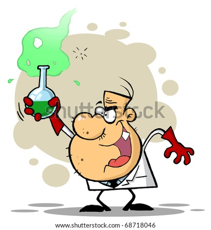 Mad Scientist Grinning And Holding A Green Potion In A Laboratory Flask - stock photo