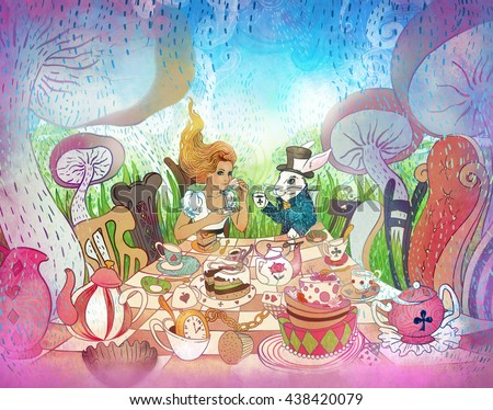 Mad Tea Party. Alice's Adventures in Wonderland illustration. Girl, white rabbit drink from cups under giant mushrooms. Design for Wonderland style party  invitation, postcard, poster, fairy tale.