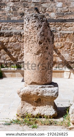 MADABA, JORDAN - APR 28, 2014: Ancient ruins in the Archaeological Museum of Madaba. It's the place where some mosaics from the 5th to 7th are preserved - stock photo