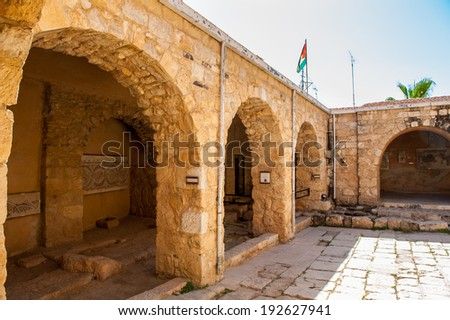 MADABA, JORDAN - APR 28, 2014: Archaeological Museum of Madaba. It's the place where some mosaics from the 5th to 7th are preserved - stock photo