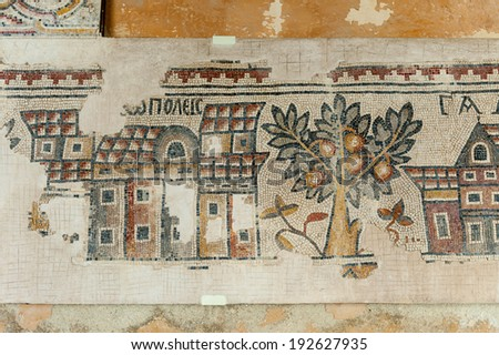 MADABA, JORDAN - APR 28, 2014: Mosaic mastepiece in the Archaeological Museum of Madaba. It's the place where some mosaics from the 5th to 7th are preserved - stock photo