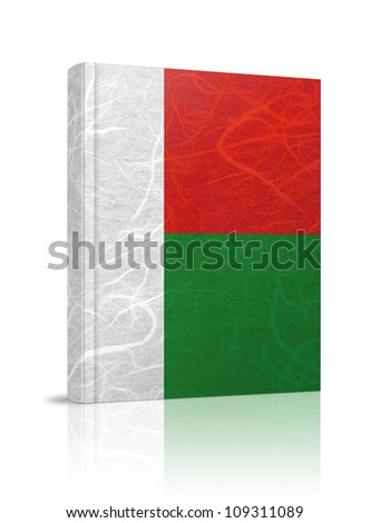 Madagascar flag book. Mulberry paper on white background.