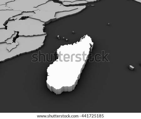 madagascar map 3D illustration - stock photo