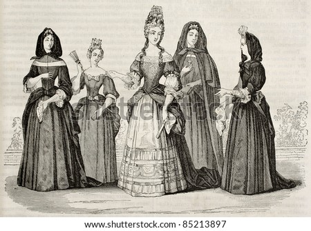 Madame de Maintenon and Les Demoiselles de Saint-Cry.  Created by Watier after print of Hennin collection, published on Magasin Pittoresque, Paris, 1842 - stock photo