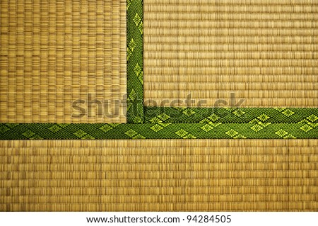 Made from rice straw, Tatami Mats are the typical floor covering for traditional Japanese houses and temples. This image shows three adjacent Mats. - stock photo