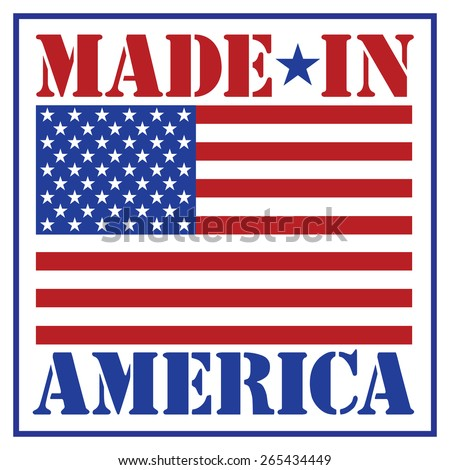 Made in America text design with the American flag.