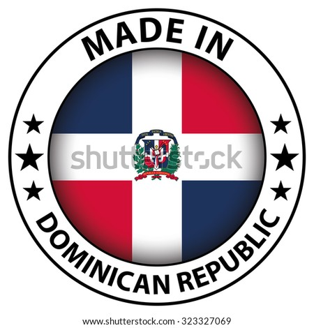 Made in badge with flag inside - Dominican Republic