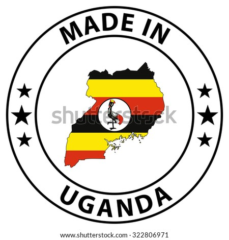 Made in badge with map inside - Uganda - stock photo