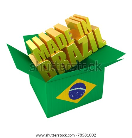 Made in Brazil. 3d concept illustration isolated on white - stock photo